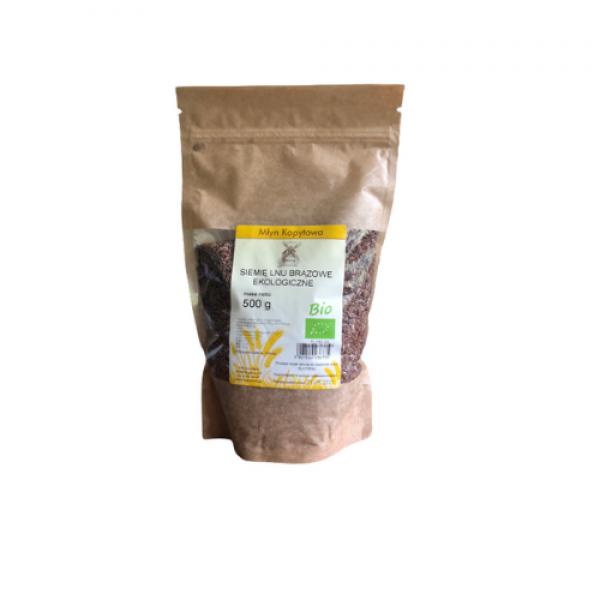 Siemię lnu brązowe ekologiczne 500 g Młyn Kopytowa