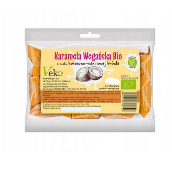 Ekologiczna karmela o smaku kokosowo-waniliowej krówki 120 g Ekoflorka