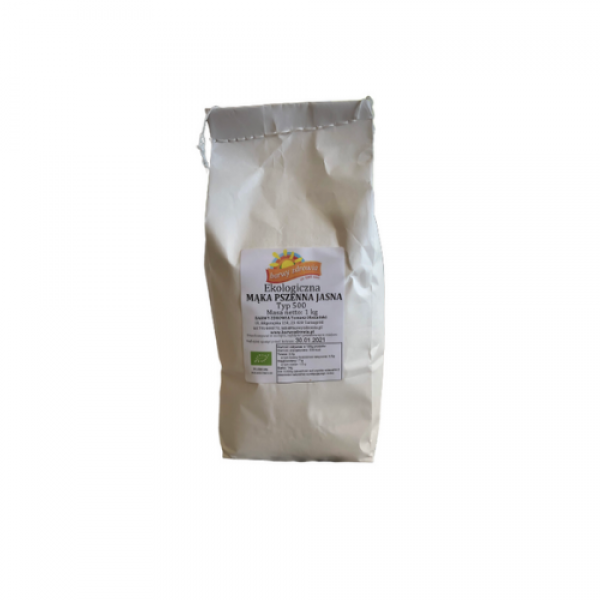 Mąka pszenna jasna typ 500 ekologiczna 1 kg Barwy Zdrowia