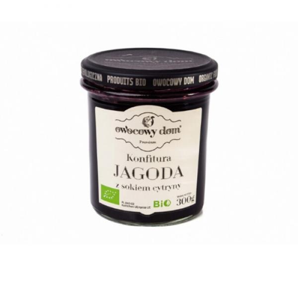 Ekologiczna konfitura z jagód z sokiem z cytryny 300 g Owocowy Dom